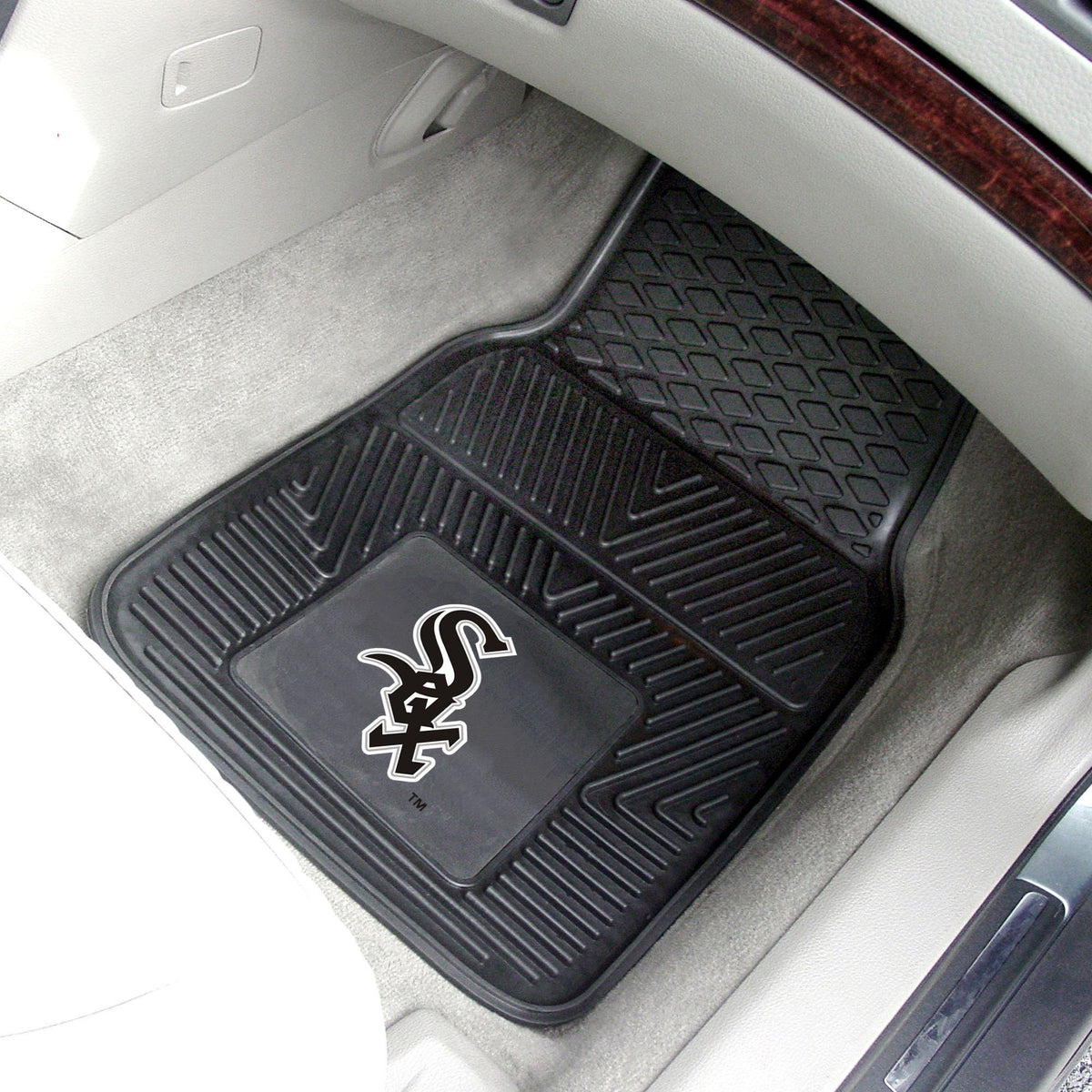 MLB - Vinyl Car Mat, 2-Piece Set MLB Mats, Front Car Mats, 2-pc Vinyl Car Mat Set, MLB, Auto Fan Mats Chicago White Sox