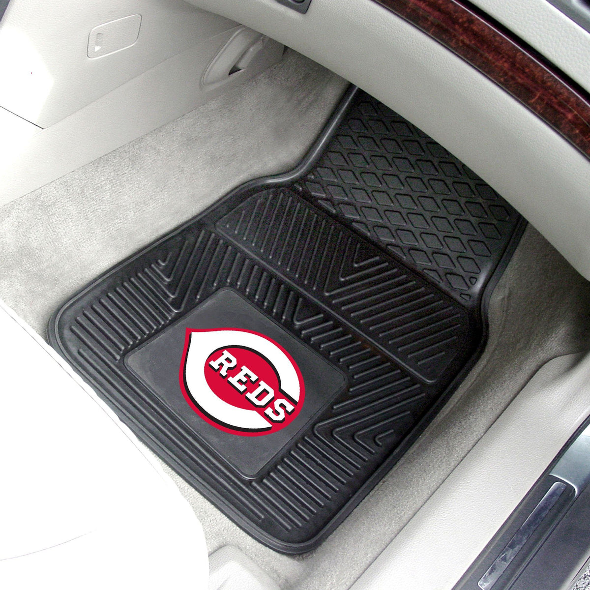 MLB - Vinyl Car Mat, 2-Piece Set MLB Mats, Front Car Mats, 2-pc Vinyl Car Mat Set, MLB, Auto Fan Mats Cincinnati Reds