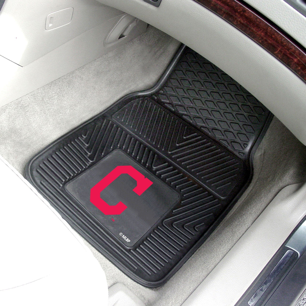 MLB - Vinyl Car Mat, 2-Piece Set MLB Mats, Front Car Mats, 2-pc Vinyl Car Mat Set, MLB, Auto Fan Mats Cleveland Indians