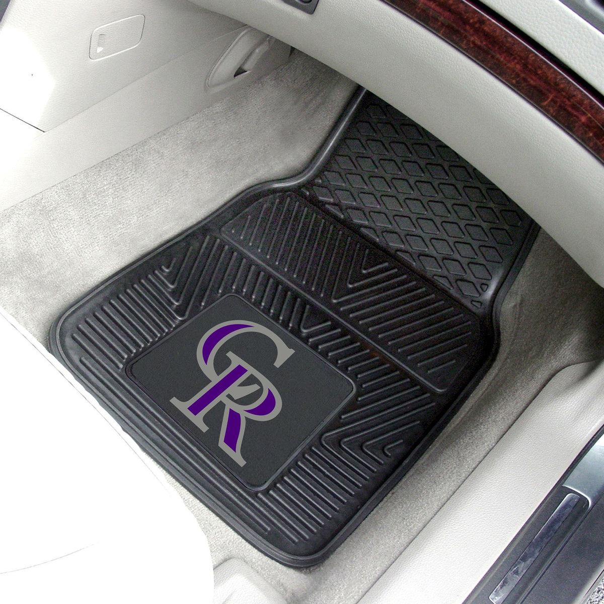 MLB - Vinyl Car Mat, 2-Piece Set MLB Mats, Front Car Mats, 2-pc Vinyl Car Mat Set, MLB, Auto Fan Mats Colorado Rockies