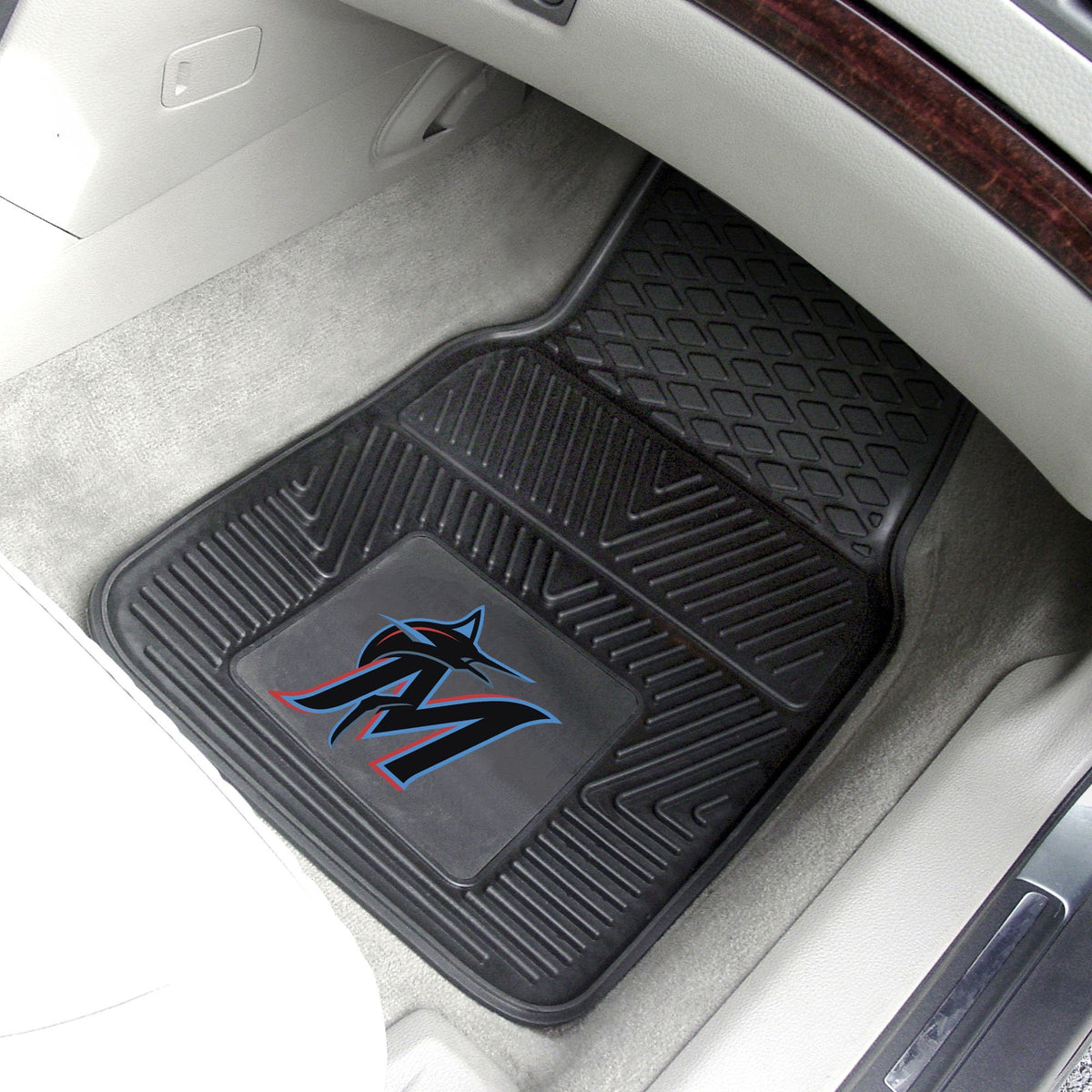 MLB - Vinyl Car Mat, 2-Piece Set MLB Mats, Front Car Mats, 2-pc Vinyl Car Mat Set, MLB, Auto Fan Mats Miami Marlins