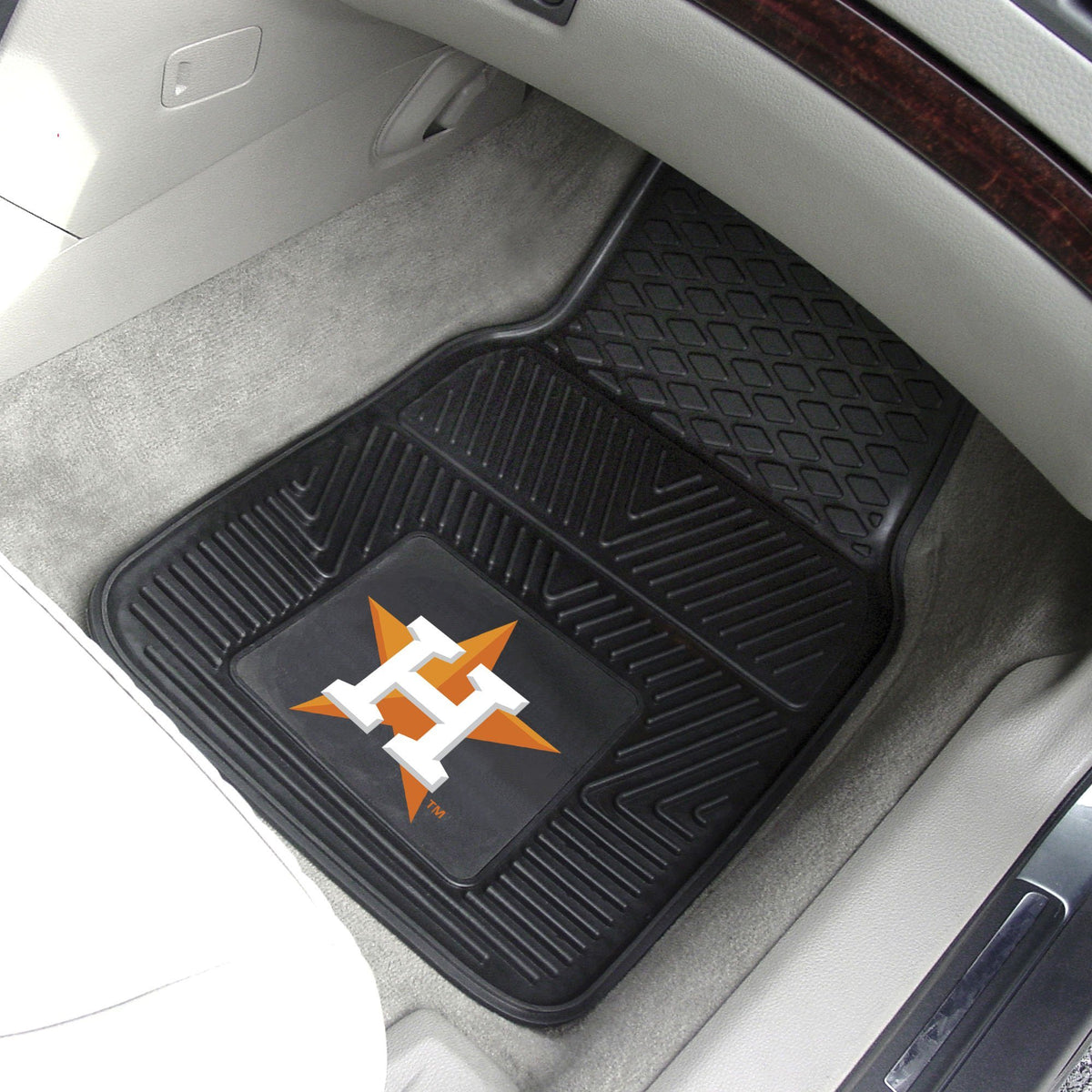 MLB - Vinyl Car Mat, 2-Piece Set MLB Mats, Front Car Mats, 2-pc Vinyl Car Mat Set, MLB, Auto Fan Mats Houston Astros