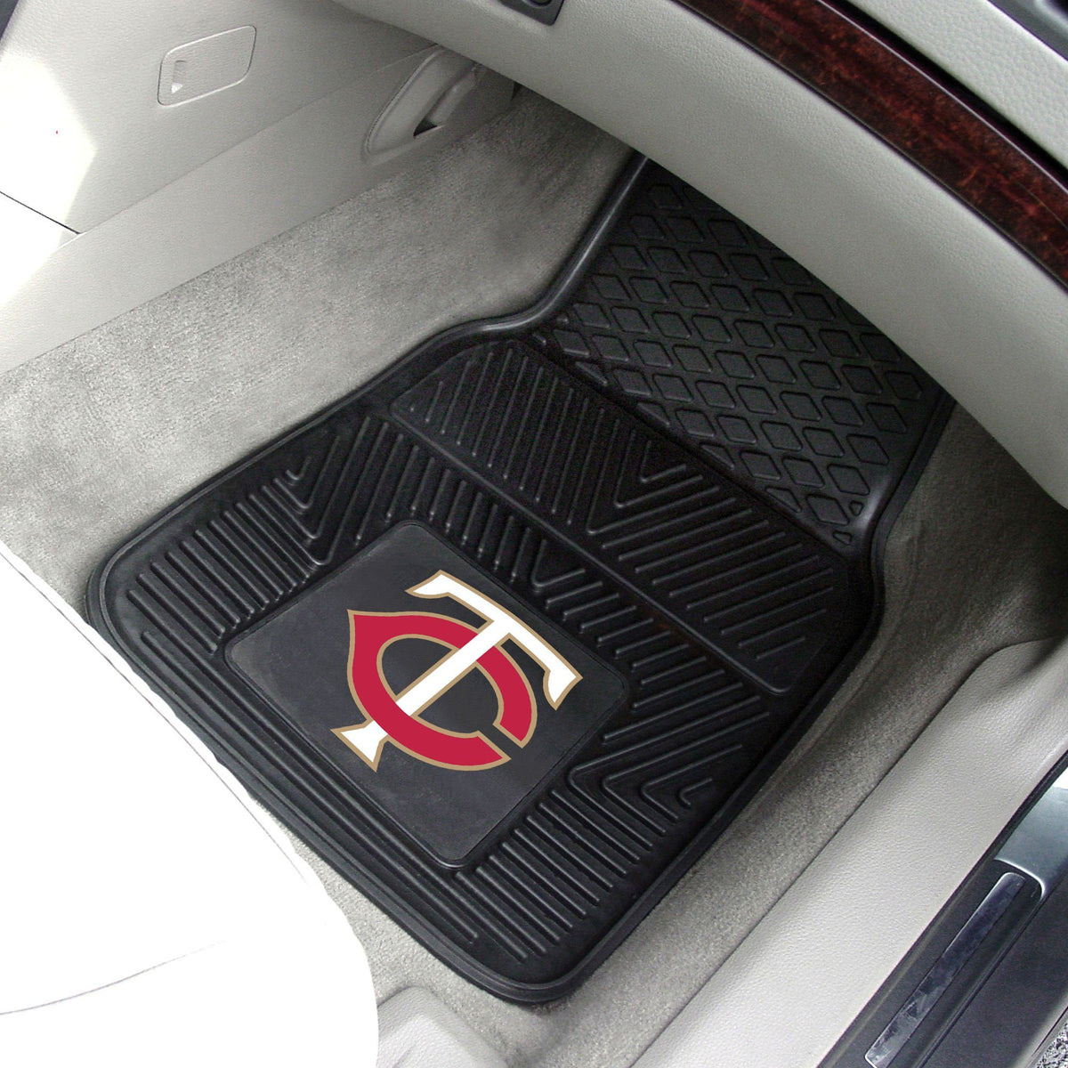 MLB - Vinyl Car Mat, 2-Piece Set MLB Mats, Front Car Mats, 2-pc Vinyl Car Mat Set, MLB, Auto Fan Mats Minnesota Twins