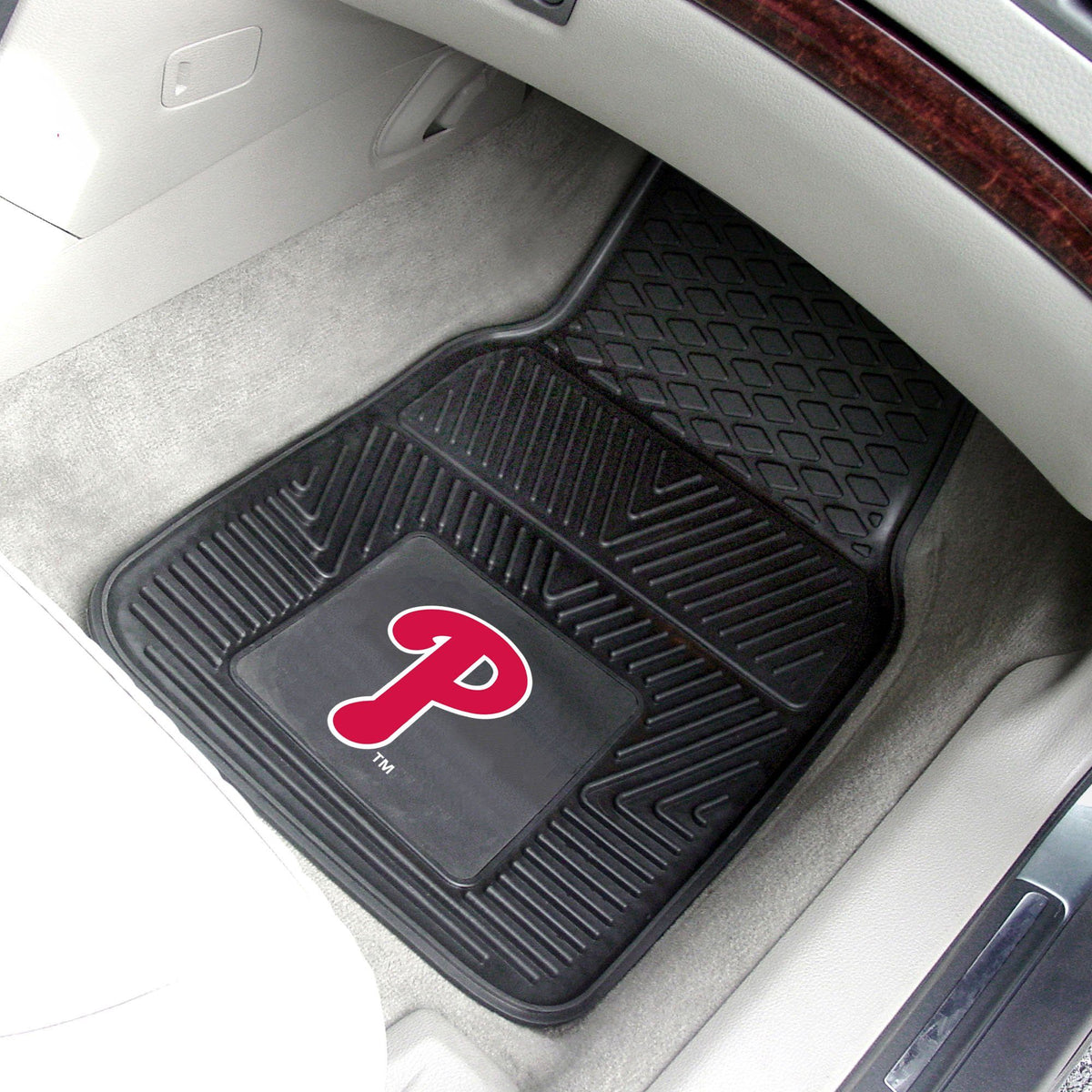 MLB - Vinyl Car Mat, 2-Piece Set MLB Mats, Front Car Mats, 2-pc Vinyl Car Mat Set, MLB, Auto Fan Mats Philadelphia Phillies