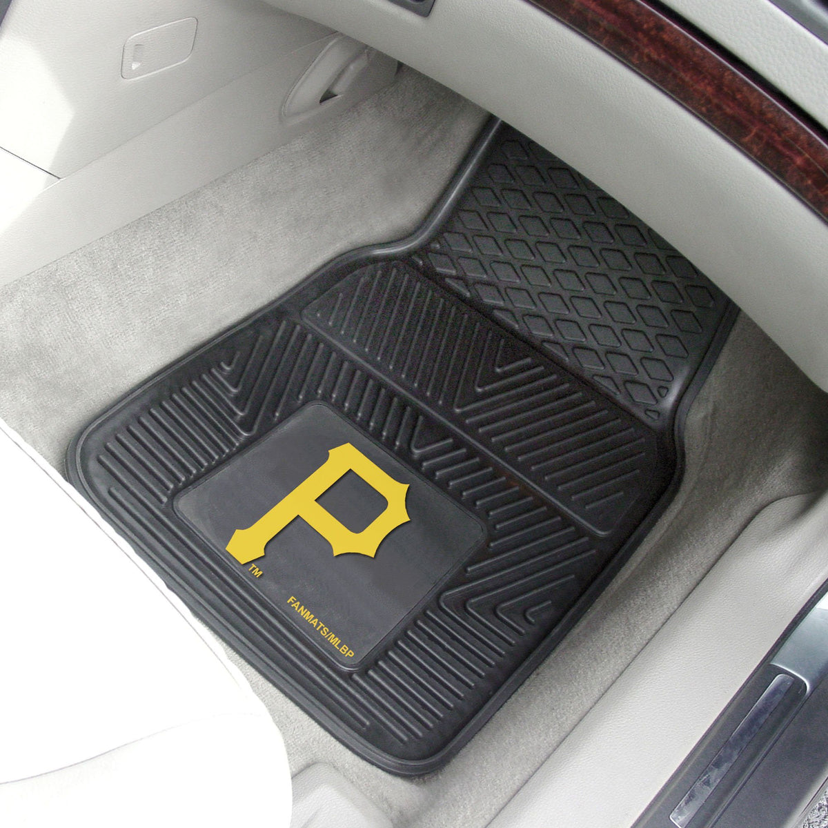 MLB - Vinyl Car Mat, 2-Piece Set MLB Mats, Front Car Mats, 2-pc Vinyl Car Mat Set, MLB, Auto Fan Mats Pittsburgh Pirates
