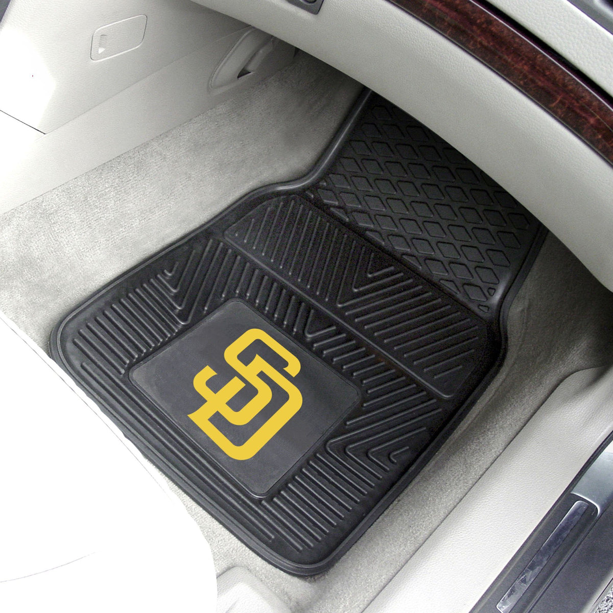 MLB - Vinyl Car Mat, 2-Piece Set MLB Mats, Front Car Mats, 2-pc Vinyl Car Mat Set, MLB, Auto Fan Mats San Diego Padres