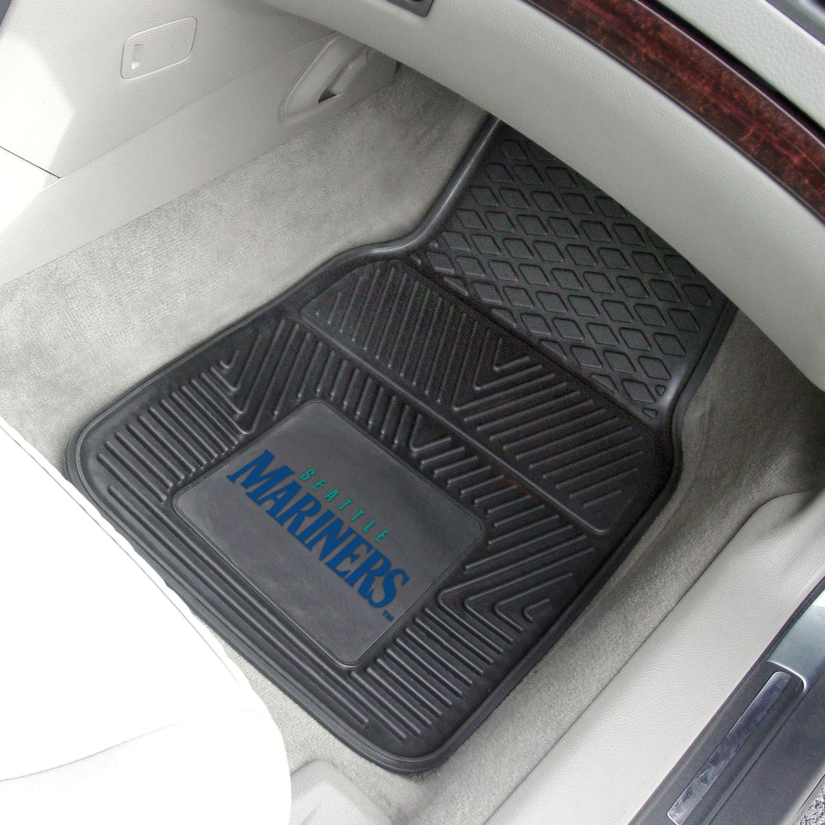 MLB - Vinyl Car Mat, 2-Piece Set MLB Mats, Front Car Mats, 2-pc Vinyl Car Mat Set, MLB, Auto Fan Mats Seattle Mariners