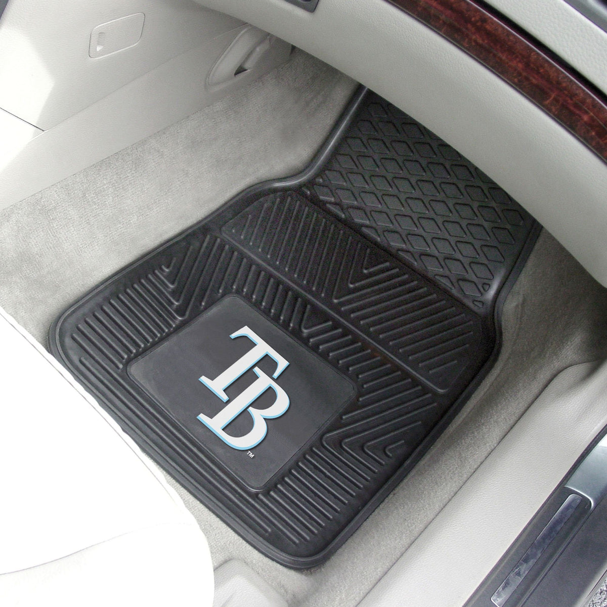 MLB - Vinyl Car Mat, 2-Piece Set MLB Mats, Front Car Mats, 2-pc Vinyl Car Mat Set, MLB, Auto Fan Mats Tampa Bay Rays