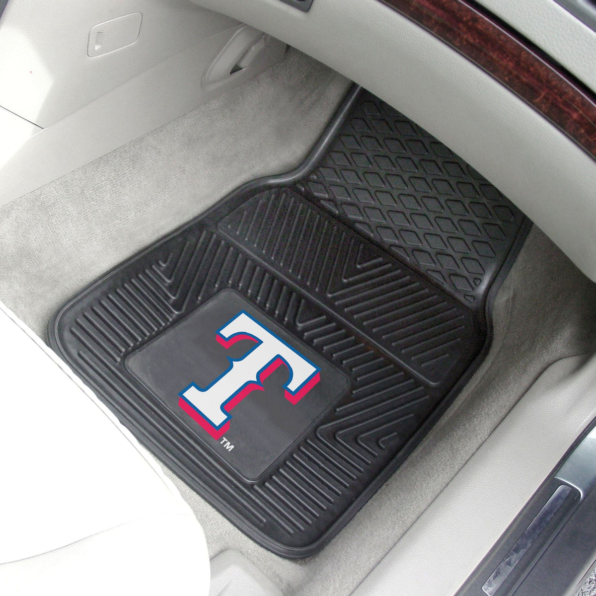 MLB - Vinyl Car Mat, 2-Piece Set MLB Mats, Front Car Mats, 2-pc Vinyl Car Mat Set, MLB, Auto Fan Mats Texas Rangers