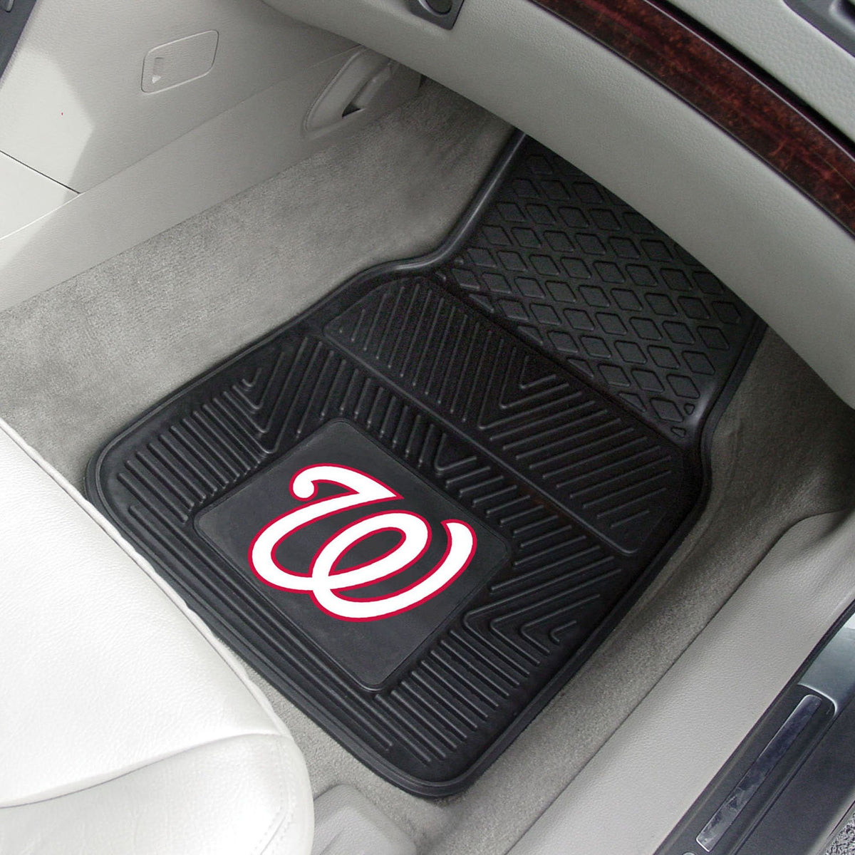 MLB - Vinyl Car Mat, 2-Piece Set MLB Mats, Front Car Mats, 2-pc Vinyl Car Mat Set, MLB, Auto Fan Mats Washington Nationals