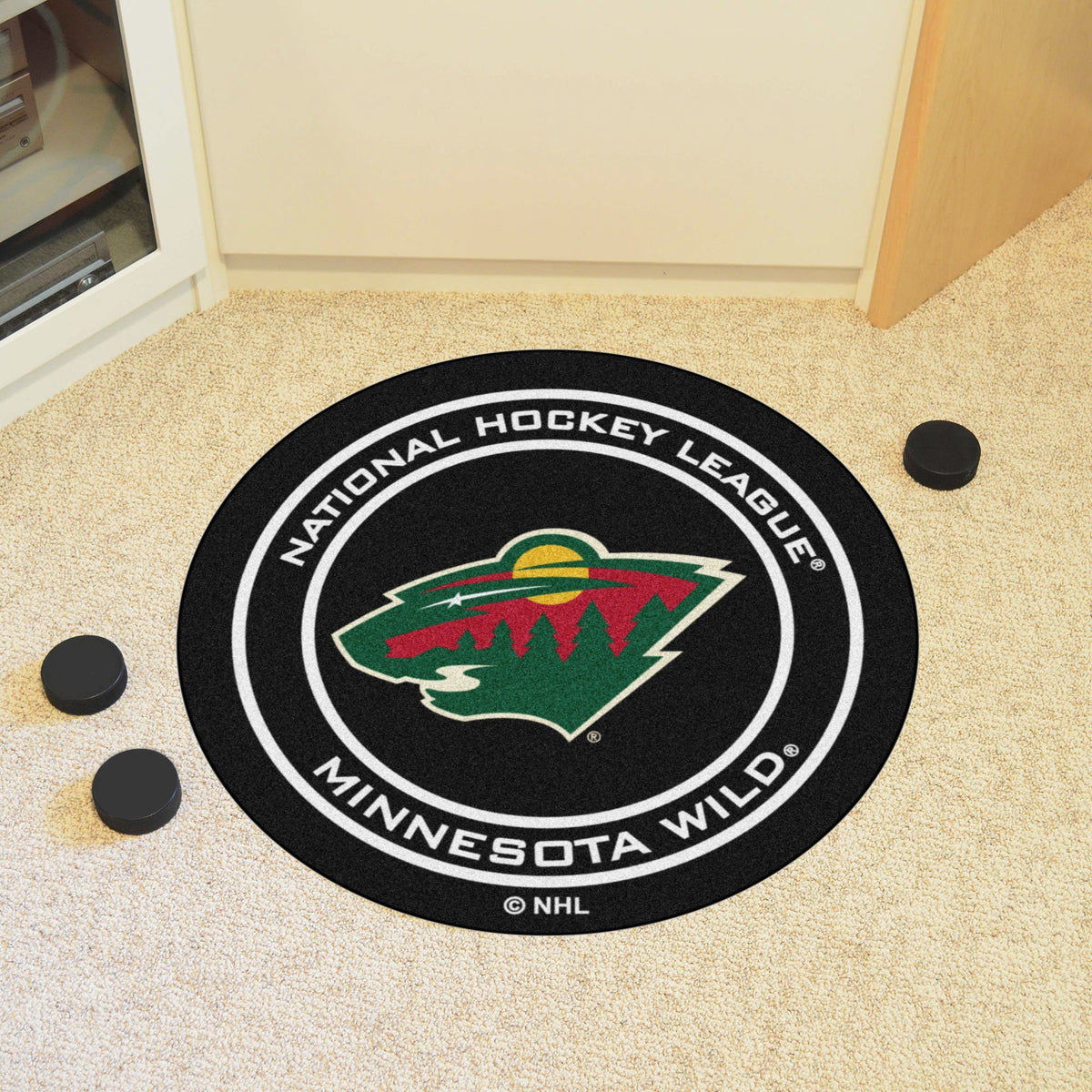 NHL Hockey Puck Mat NHL Hockey Puck Mat Fan Mats Minnesota Wild