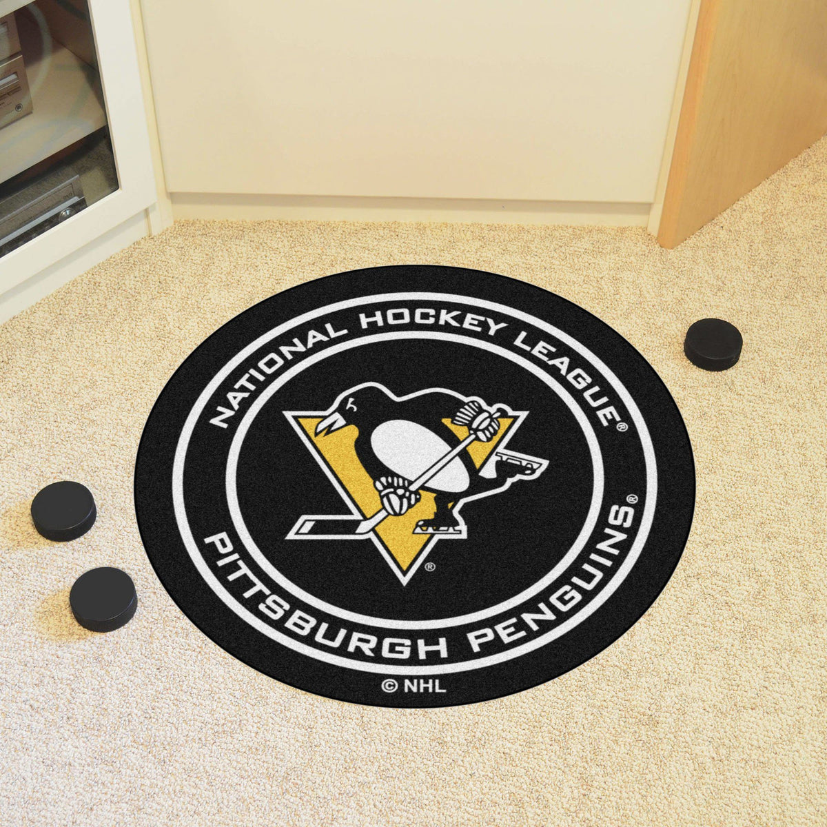 NHL Hockey Puck Mat NHL Hockey Puck Mat Fan Mats Pittsburgh Penguins