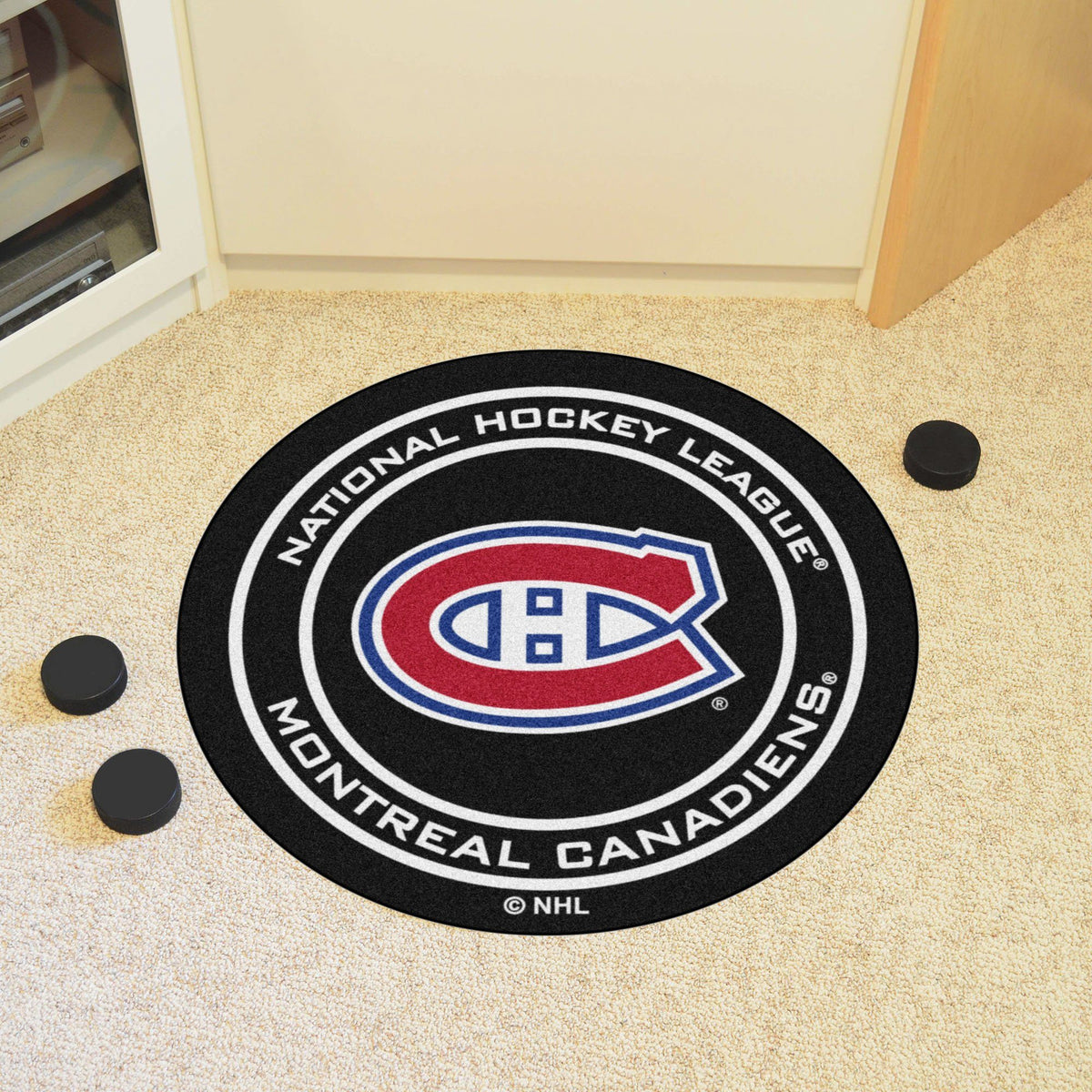NHL Hockey Puck Mat NHL Hockey Puck Mat Fan Mats Montreal Canadiens