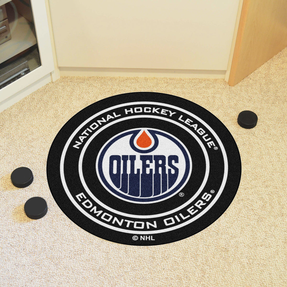 NHL Hockey Puck Mat NHL Hockey Puck Mat Fan Mats Edmonton Oilers