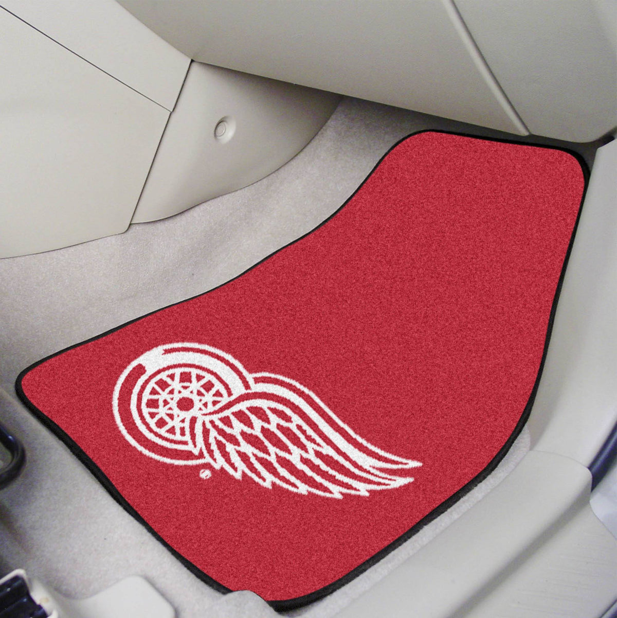 NHL - Carpet Car Mat, 2-Piece Set NHL Mats, Front Car Mats, 2-pc Carpet Car Mat Set, NHL, Auto Fan Mats Detroit Red Wings