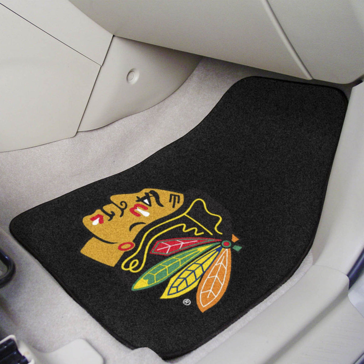 NHL - Carpet Car Mat, 2-Piece Set NHL Mats, Front Car Mats, 2-pc Carpet Car Mat Set, NHL, Auto Fan Mats Chicago Blackhawks