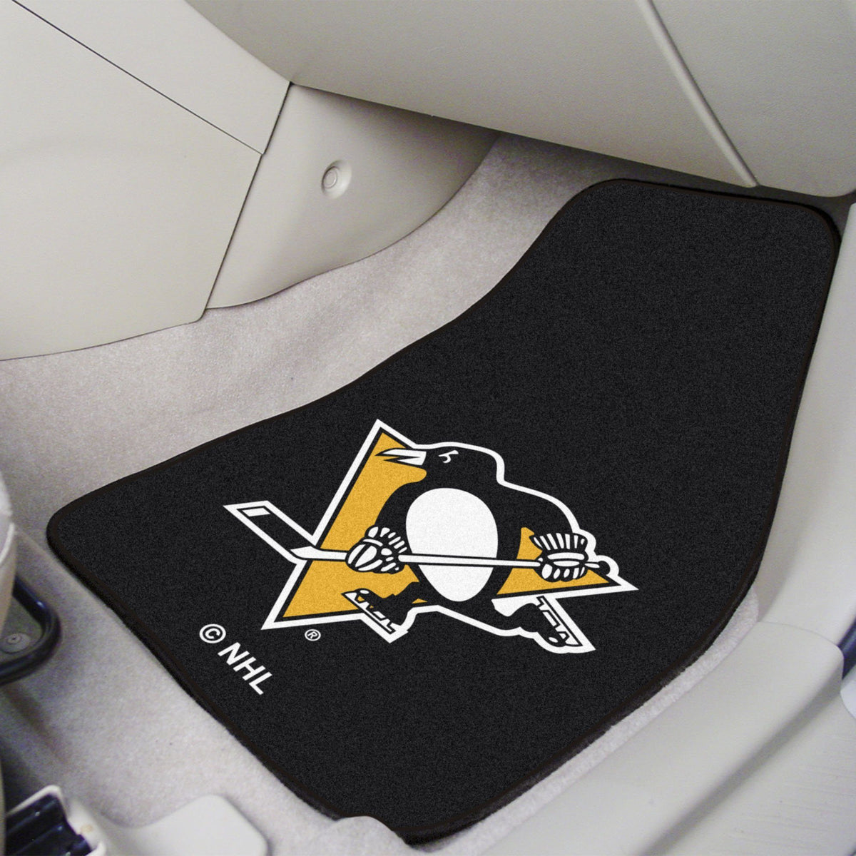 NHL - Carpet Car Mat, 2-Piece Set NHL Mats, Front Car Mats, 2-pc Carpet Car Mat Set, NHL, Auto Fan Mats Pittsburgh Penguins