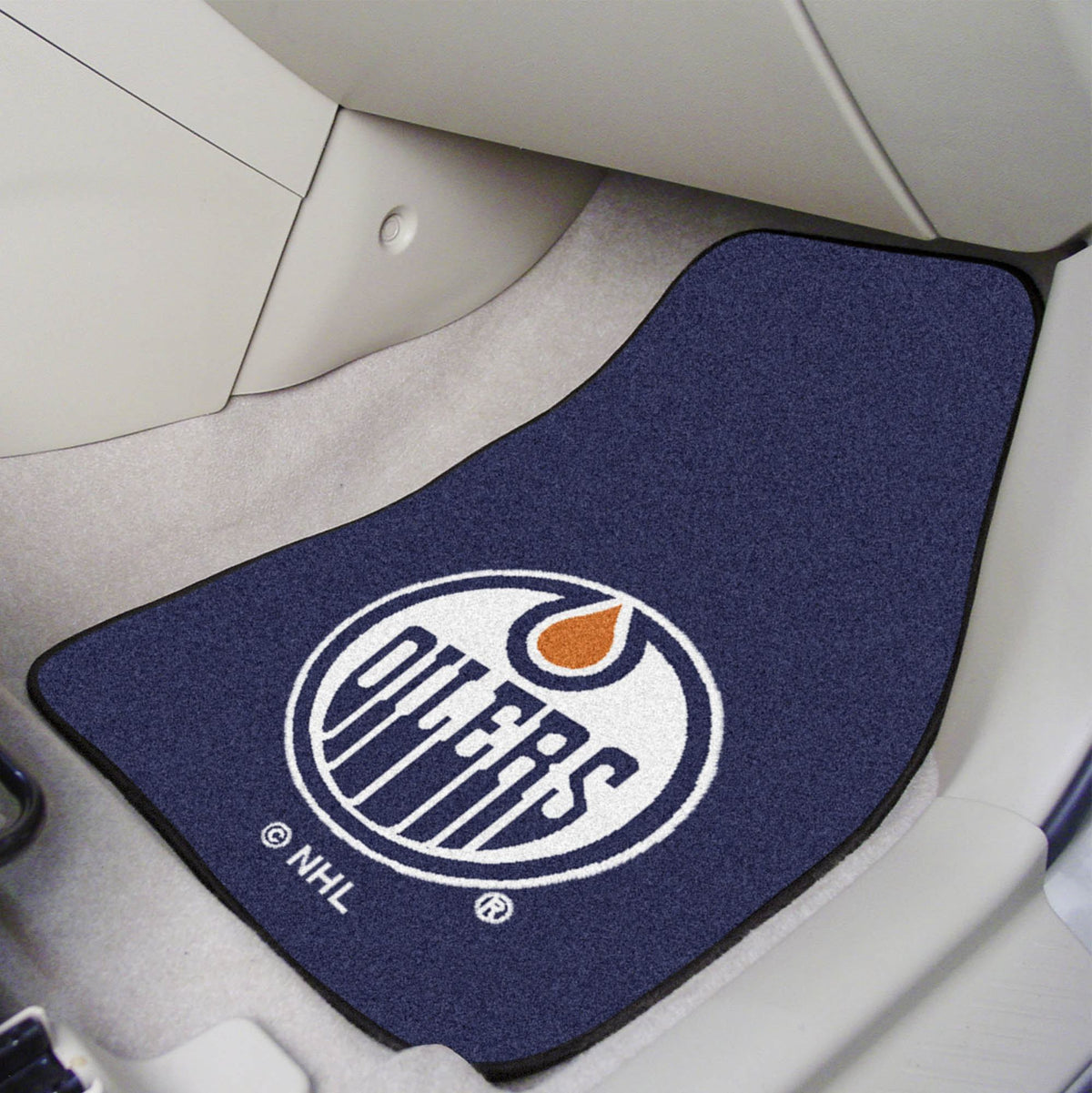 NHL - Carpet Car Mat, 2-Piece Set NHL Mats, Front Car Mats, 2-pc Carpet Car Mat Set, NHL, Auto Fan Mats Edmonton Oilers