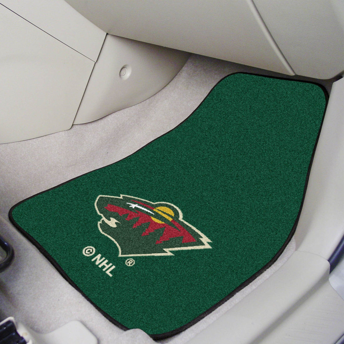 NHL - Carpet Car Mat, 2-Piece Set NHL Mats, Front Car Mats, 2-pc Carpet Car Mat Set, NHL, Auto Fan Mats Minnesota Wild