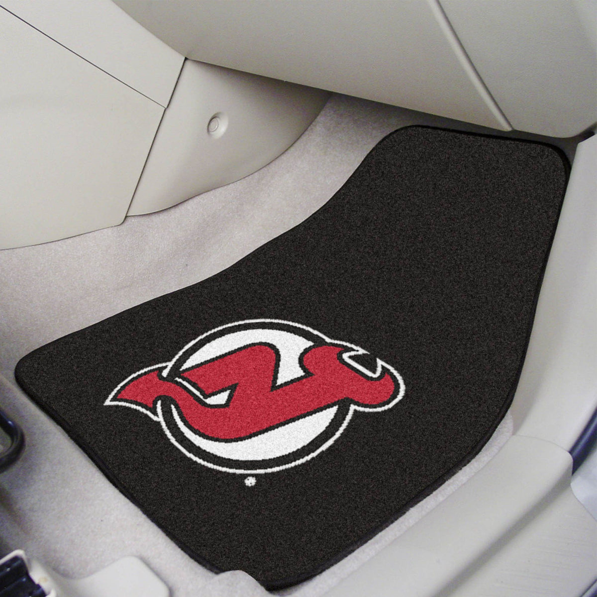 NHL - Carpet Car Mat, 2-Piece Set NHL Mats, Front Car Mats, 2-pc Carpet Car Mat Set, NHL, Auto Fan Mats New Jersey Devils