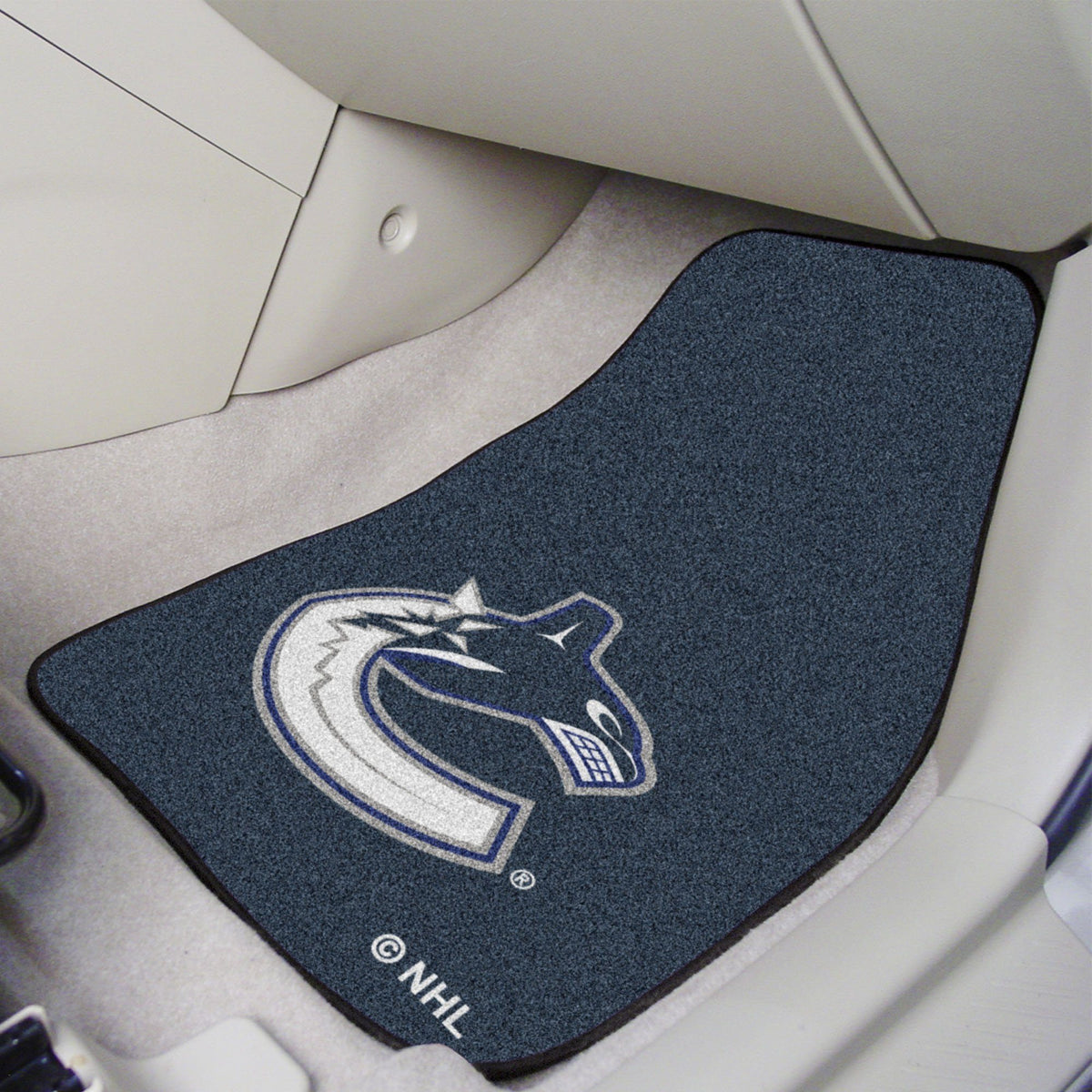 NHL - Carpet Car Mat, 2-Piece Set NHL Mats, Front Car Mats, 2-pc Carpet Car Mat Set, NHL, Auto Fan Mats Vancouver Canucks