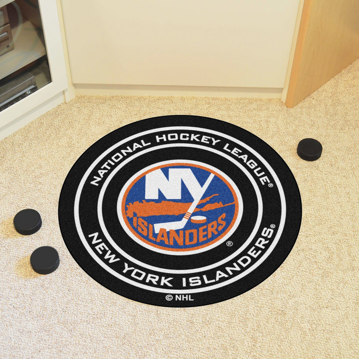 NHL Hockey Puck Mat NHL Hockey Puck Mat Fan Mats New York Islanders