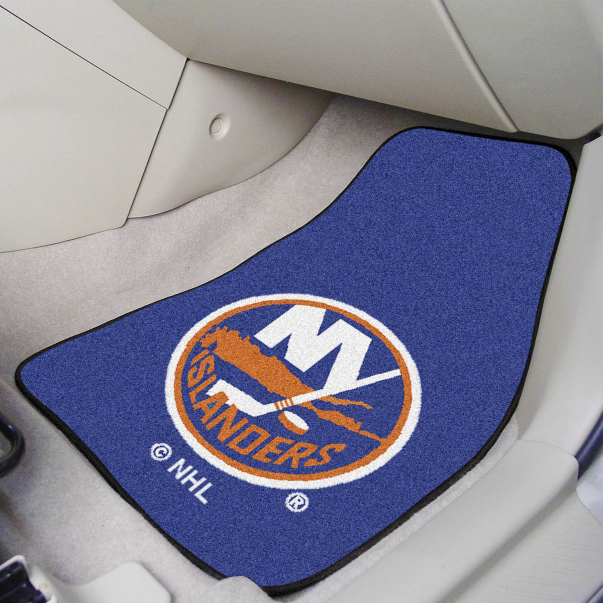 NHL - Carpet Car Mat, 2-Piece Set NHL Mats, Front Car Mats, 2-pc Carpet Car Mat Set, NHL, Auto Fan Mats New York Islanders