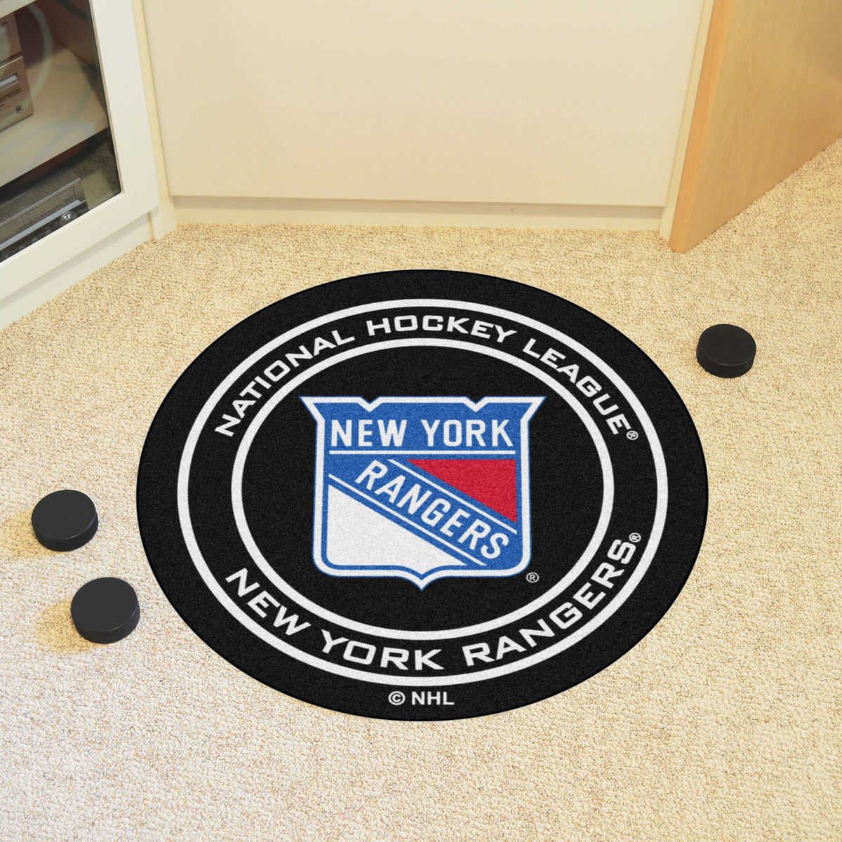 NHL Hockey Puck Mat NHL Hockey Puck Mat Fan Mats New York Rangers