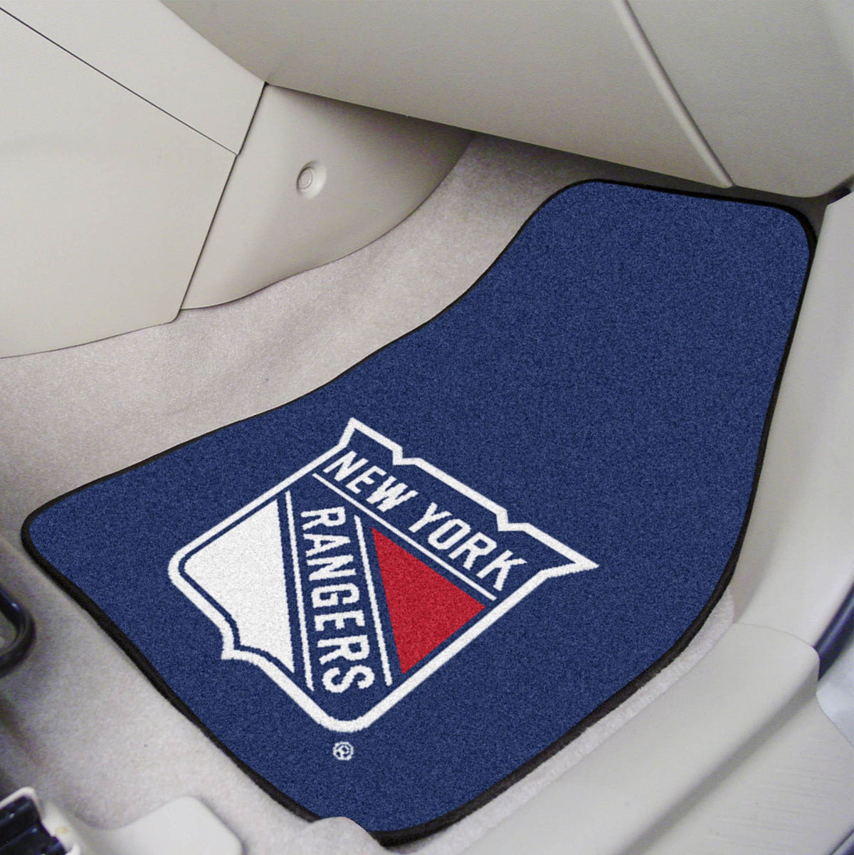 NHL - Carpet Car Mat, 2-Piece Set NHL Mats, Front Car Mats, 2-pc Carpet Car Mat Set, NHL, Auto Fan Mats New York Rangers