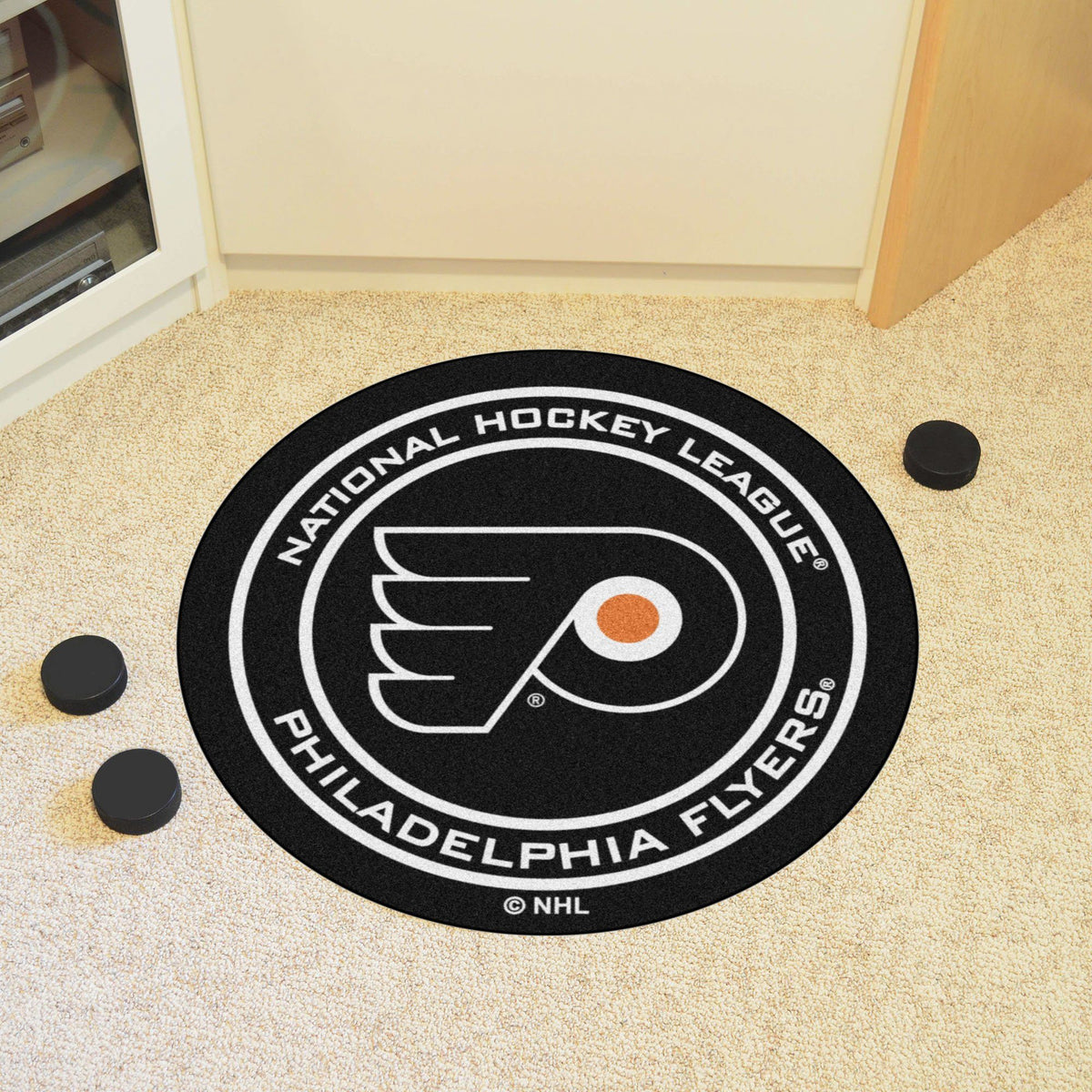 NHL Hockey Puck Mat NHL Hockey Puck Mat Fan Mats Philadelphia Flyers