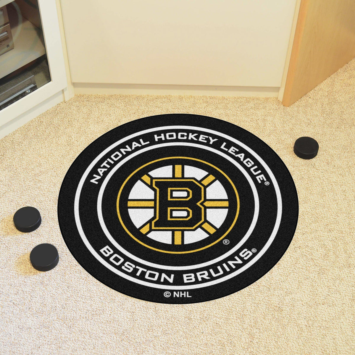 NHL Hockey Puck Mat NHL Hockey Puck Mat Fan Mats Boston Bruins