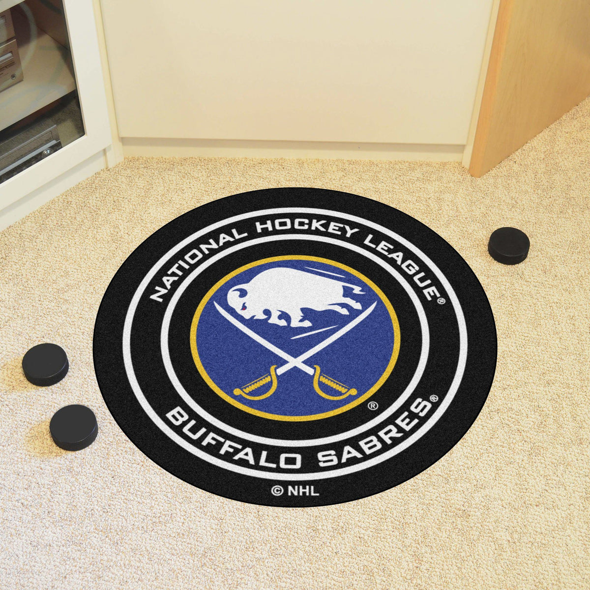 NHL Hockey Puck Mat NHL Hockey Puck Mat Fan Mats Buffalo Sabres