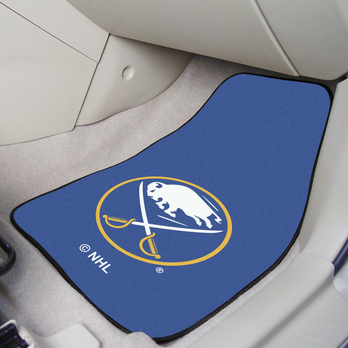 NHL - Carpet Car Mat, 2-Piece Set NHL Mats, Front Car Mats, 2-pc Carpet Car Mat Set, NHL, Auto Fan Mats Buffalo Sabres