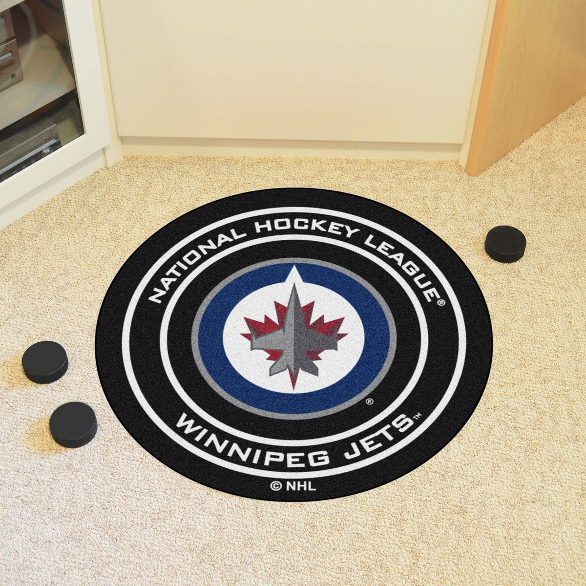 NHL Hockey Puck Mat NHL Hockey Puck Mat Fan Mats Winnipeg Jets