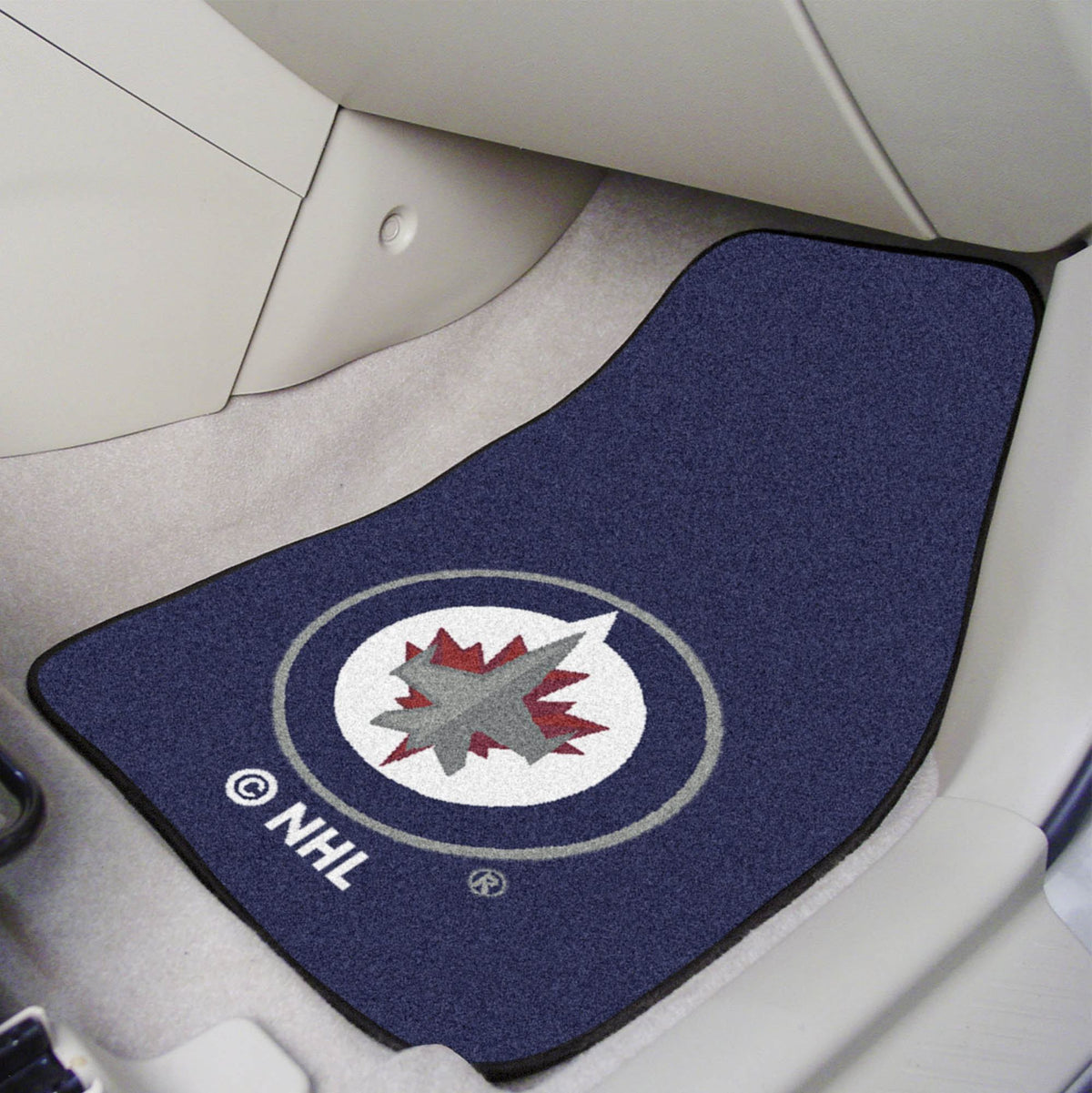 NHL - Carpet Car Mat, 2-Piece Set NHL Mats, Front Car Mats, 2-pc Carpet Car Mat Set, NHL, Auto Fan Mats Winnipeg Jets