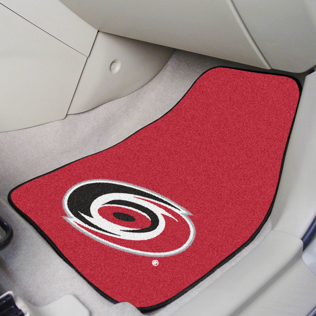 NHL - Carpet Car Mat, 2-Piece Set NHL Mats, Front Car Mats, 2-pc Carpet Car Mat Set, NHL, Auto Fan Mats Carolina Hurricanes