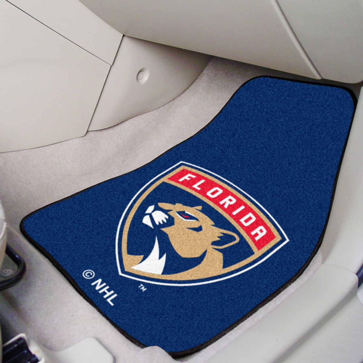 NHL - Carpet Car Mat, 2-Piece Set NHL Mats, Front Car Mats, 2-pc Carpet Car Mat Set, NHL, Auto Fan Mats Florida Panthers