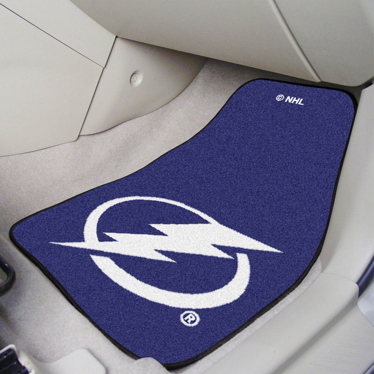 NHL - Carpet Car Mat, 2-Piece Set NHL Mats, Front Car Mats, 2-pc Carpet Car Mat Set, NHL, Auto Fan Mats Tampa Bay Lightning