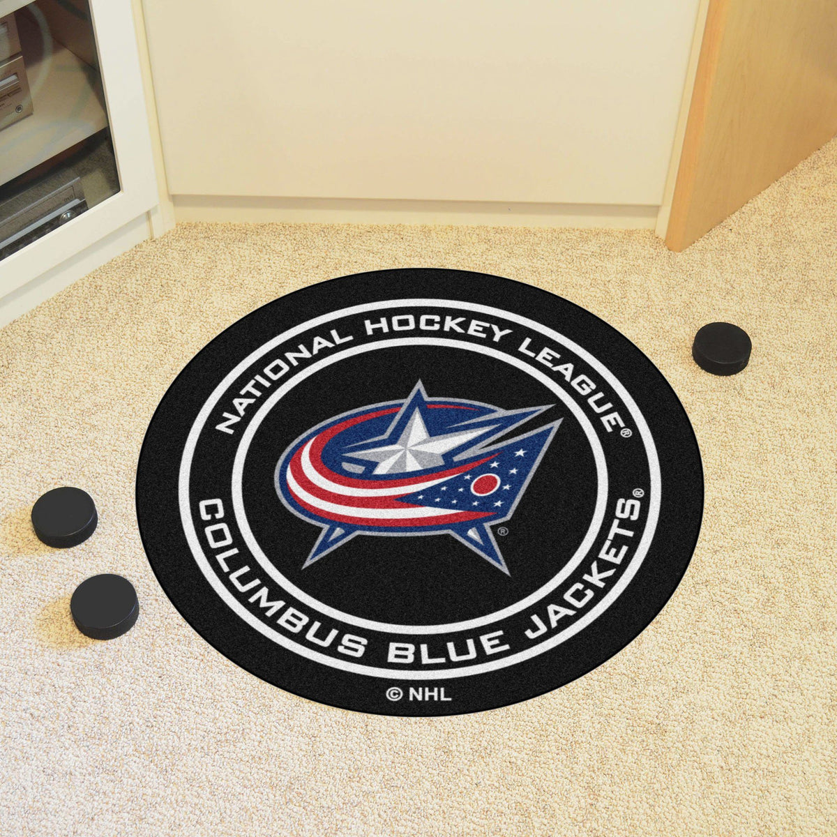 NHL Hockey Puck Mat NHL Hockey Puck Mat Fan Mats Columbus Blue Jackets