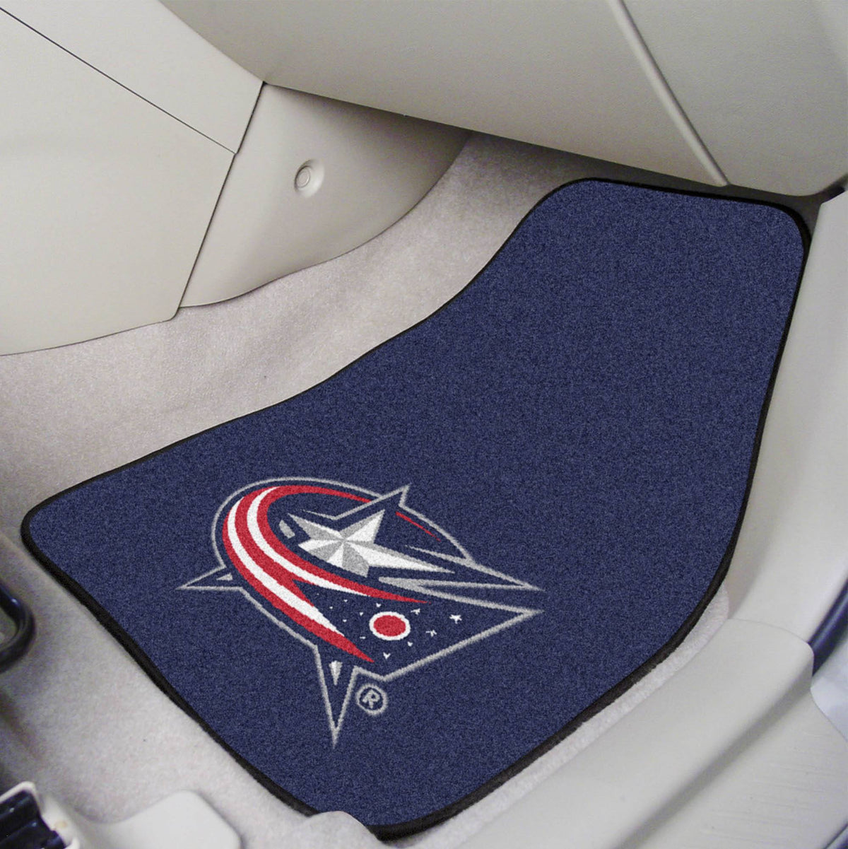 NHL - Carpet Car Mat, 2-Piece Set NHL Mats, Front Car Mats, 2-pc Carpet Car Mat Set, NHL, Auto Fan Mats Columbus Blue Jackets