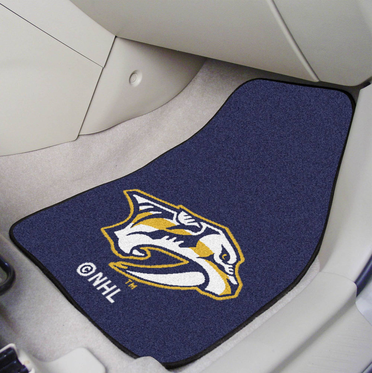 NHL - Carpet Car Mat, 2-Piece Set NHL Mats, Front Car Mats, 2-pc Carpet Car Mat Set, NHL, Auto Fan Mats Nashville Predators