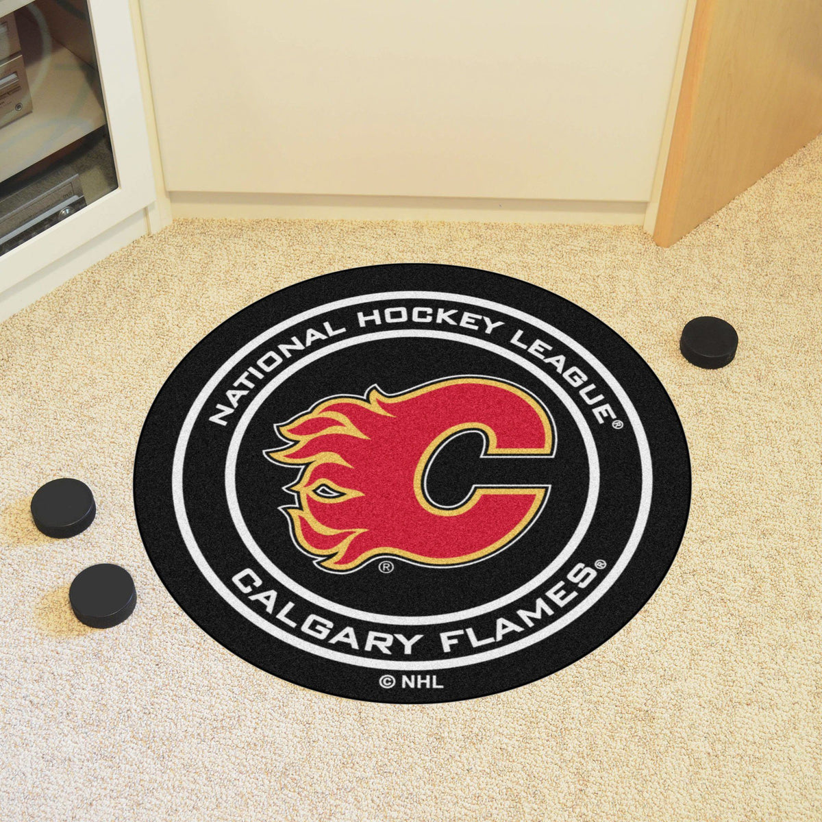 NHL Hockey Puck Mat NHL Hockey Puck Mat Fan Mats Calgary Flames
