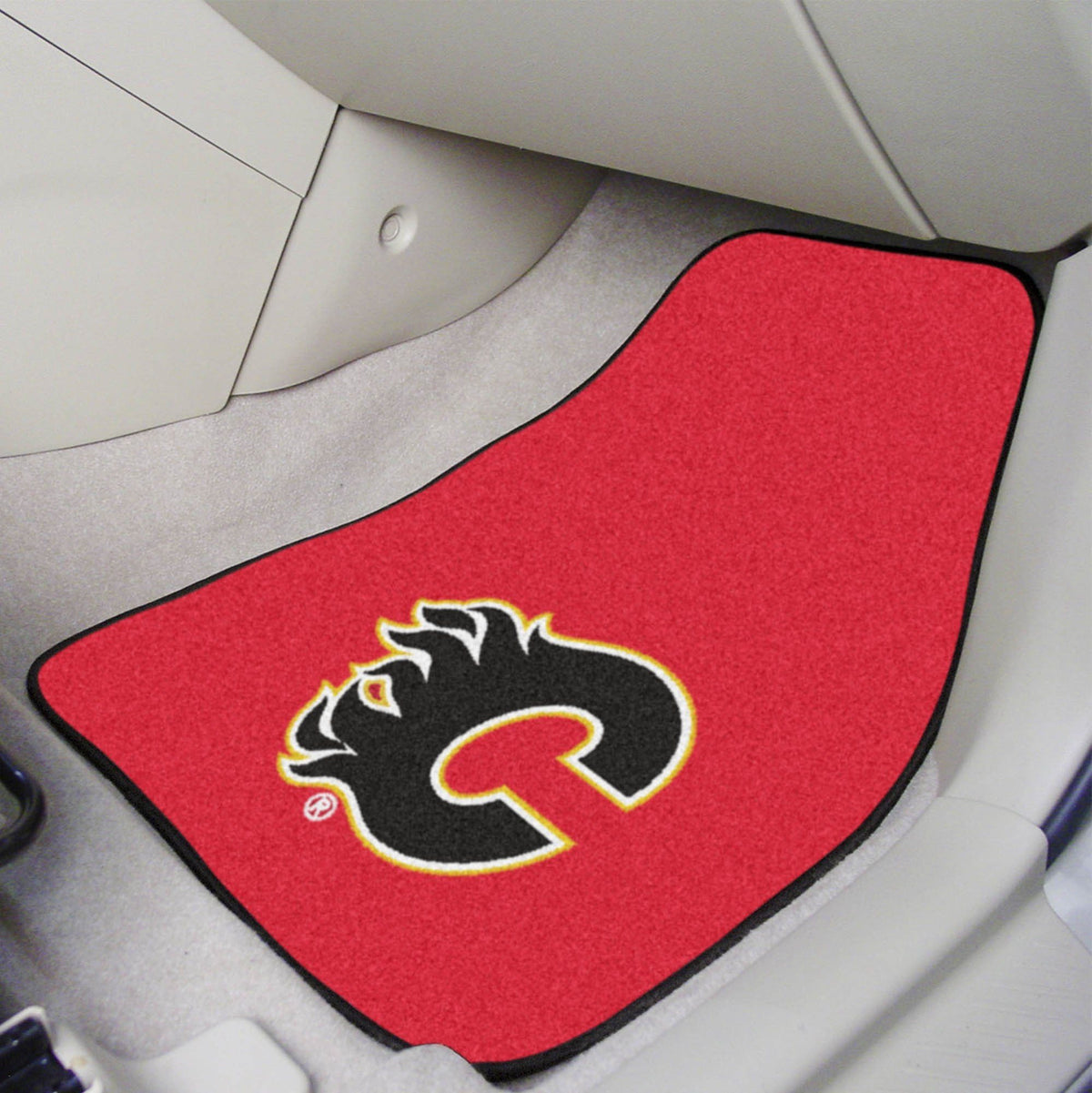 NHL - Carpet Car Mat, 2-Piece Set NHL Mats, Front Car Mats, 2-pc Carpet Car Mat Set, NHL, Auto Fan Mats Calgary Flames