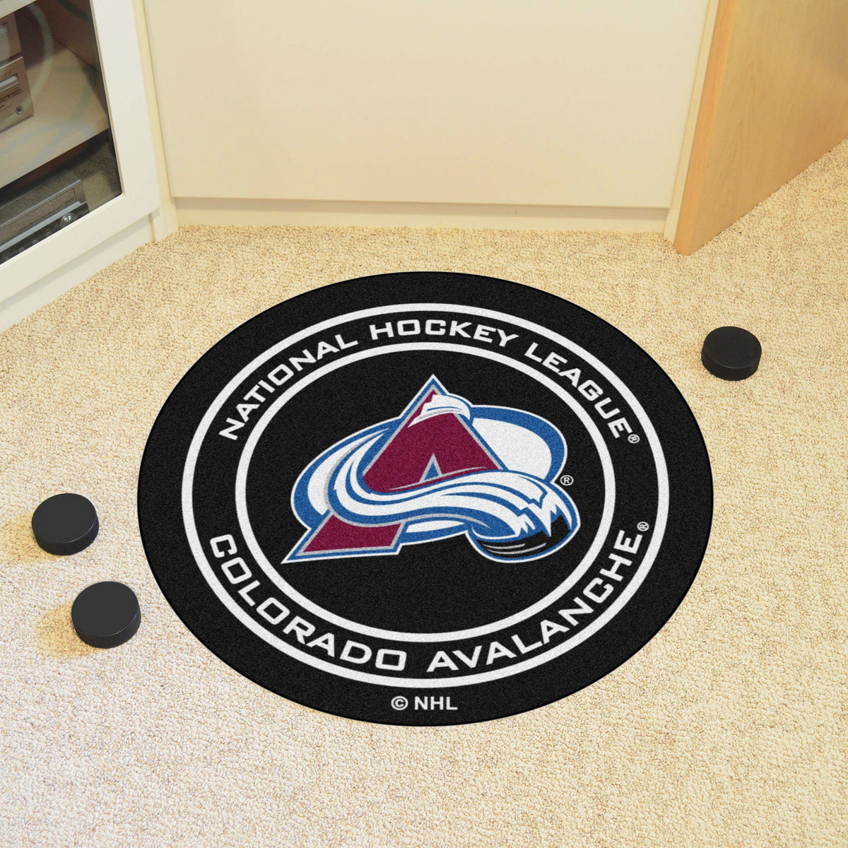 NHL Hockey Puck Mat NHL Hockey Puck Mat Fan Mats Colorado Avalanche