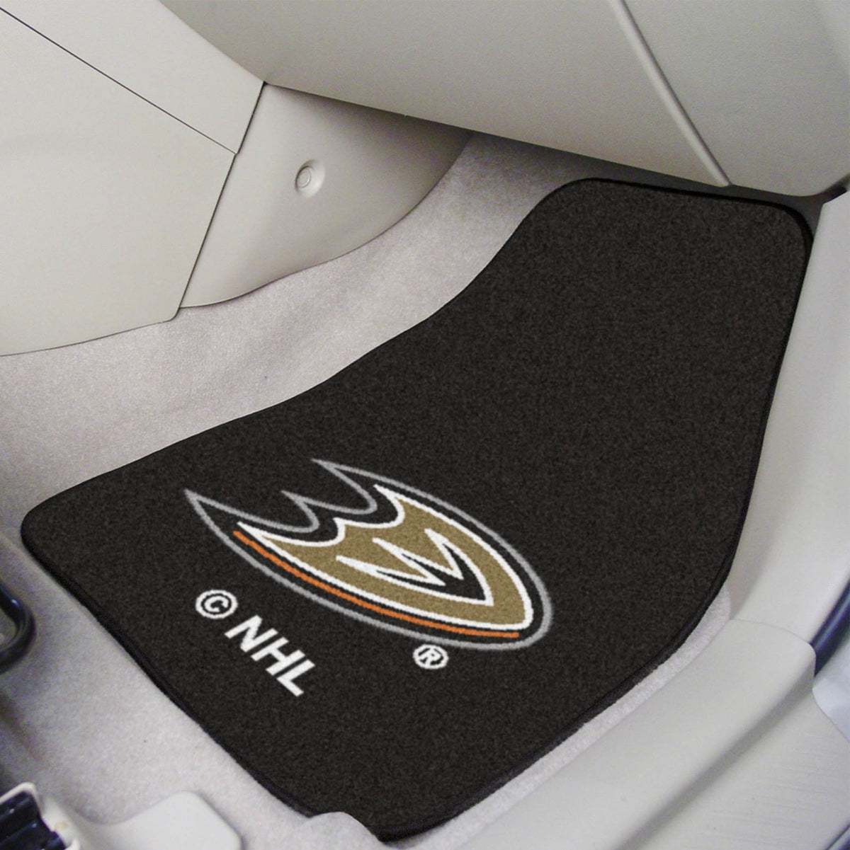 NHL - Carpet Car Mat, 2-Piece Set NHL Mats, Front Car Mats, 2-pc Carpet Car Mat Set, NHL, Auto Fan Mats Anaheim Ducks