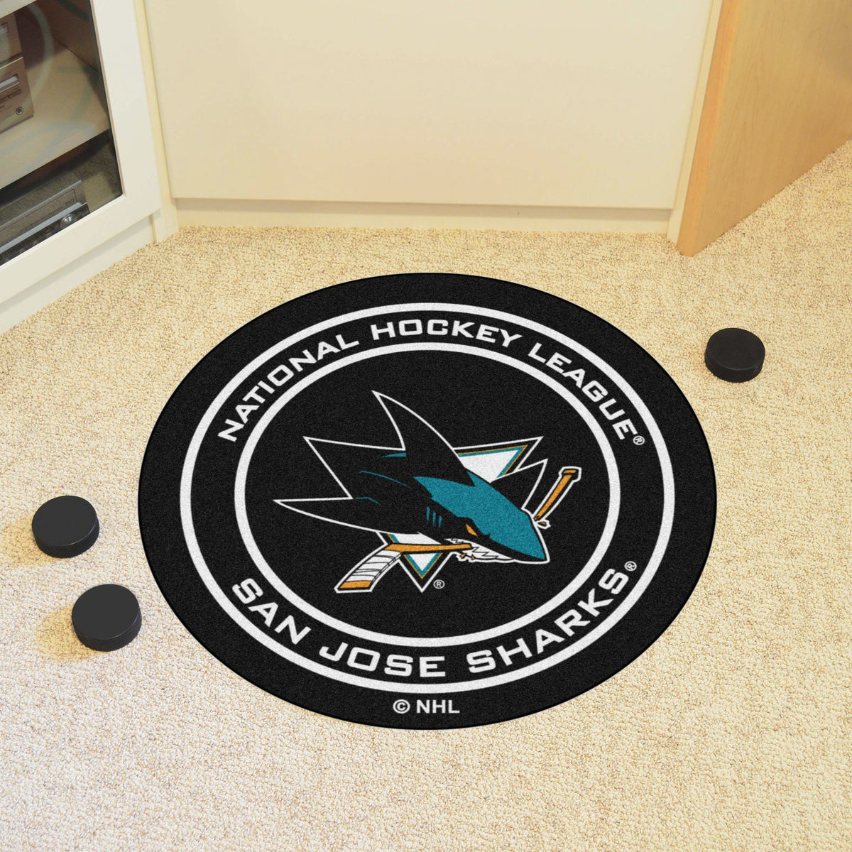 NHL Hockey Puck Mat NHL Hockey Puck Mat Fan Mats San Jose Sharks