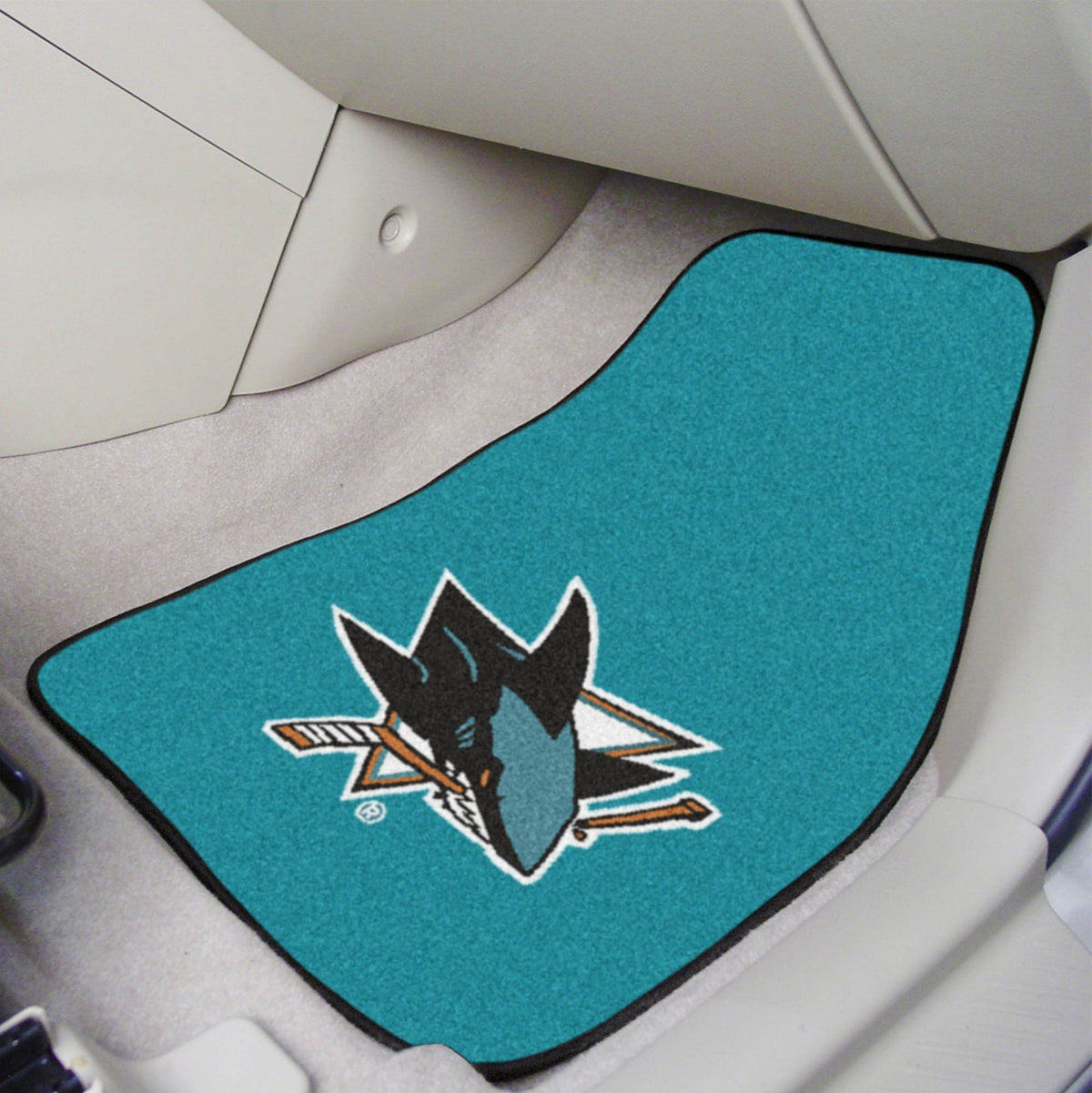 NHL - Carpet Car Mat, 2-Piece Set NHL Mats, Front Car Mats, 2-pc Carpet Car Mat Set, NHL, Auto Fan Mats San Jose Sharks