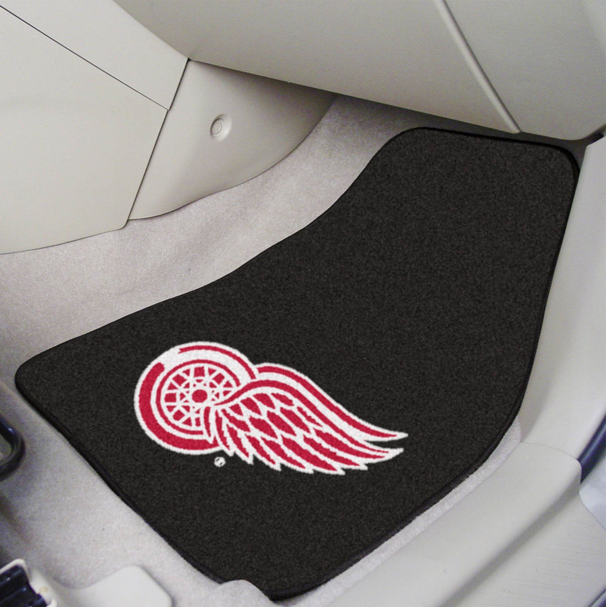 NHL - Carpet Car Mat, 2-Piece Set NHL Mats, Front Car Mats, 2-pc Carpet Car Mat Set, NHL, Auto Fan Mats Detroit Red Wings 2