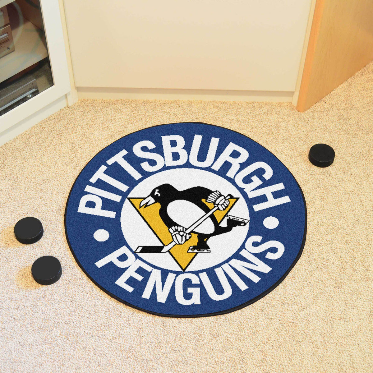 NHL Hockey Puck Mat NHL Hockey Puck Mat Fan Mats Pittsburgh Penguins 2