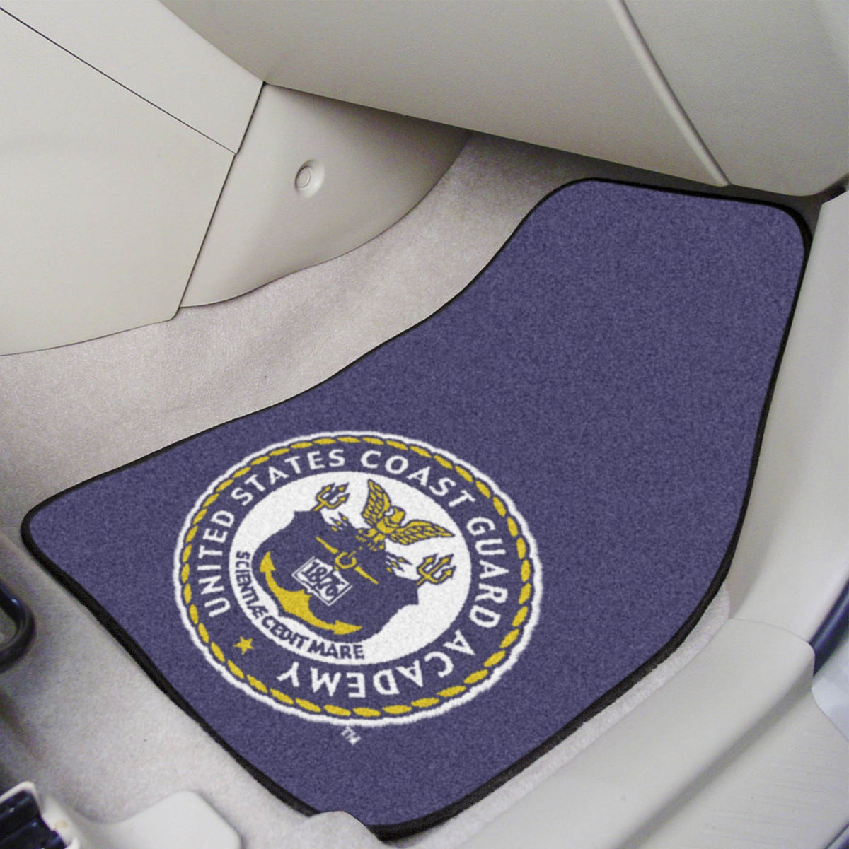 Collegiate - Carpet Car Mat, 2-Piece Set: T - Z Collegiate Car Mat, Front Car Mats, 2-pc Carpet Car Mat Set, Collegiate, Auto Fan Mats U.S. Coast Guard Academy 2